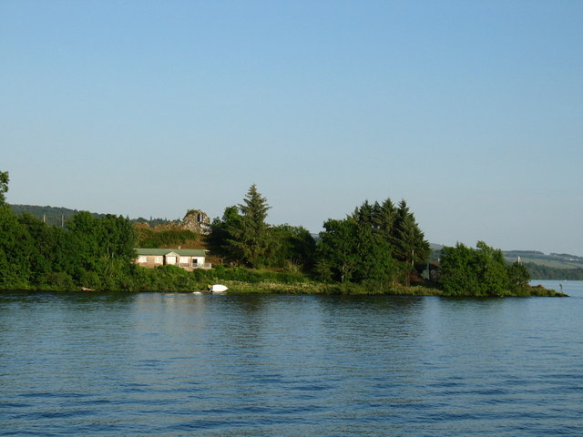 Inchmurrin Island southern end with Castle remains.