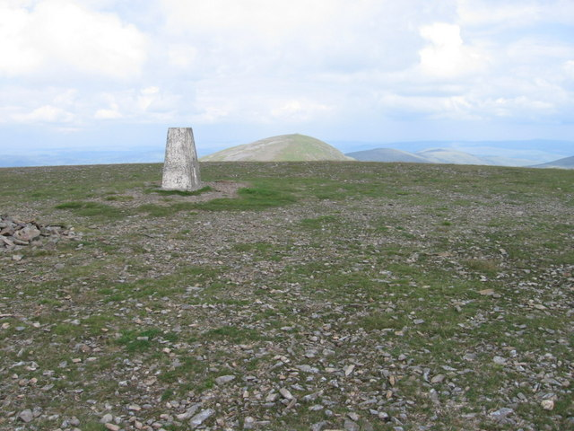 Trig point on Corserine looking towards Carlin's Cairn