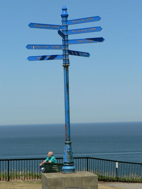 Signpost commemorating Captain Cook, Whitby