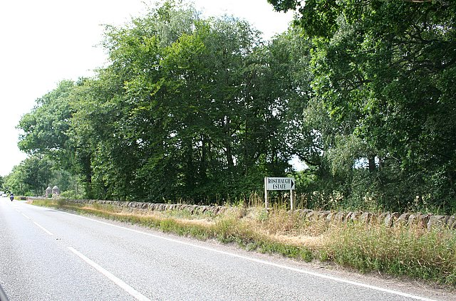 Approaching the entrance to Rosehaugh Mains.