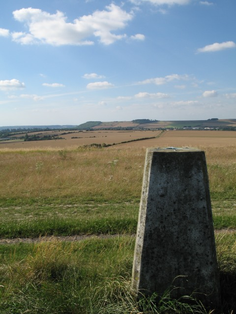 Etchilhampton Hill trig point with view to Roundway Hill