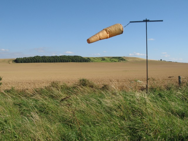Windsock with view of Etchilhampton Hill