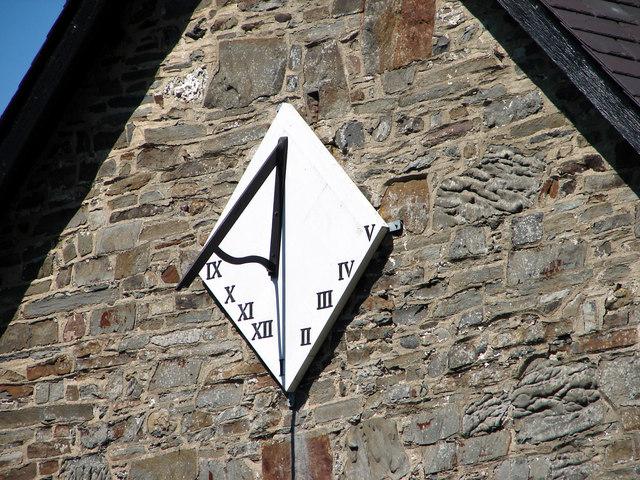Close-up of the sundial on Llanfihangel-y-Creuddyn church