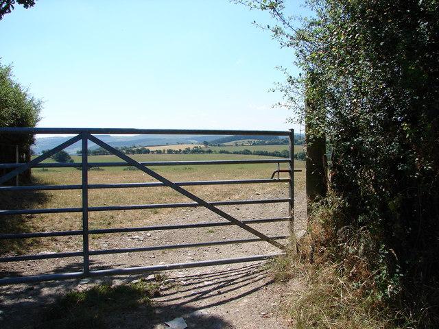 Gate & field near Llanfihangel-y-Creuddyn