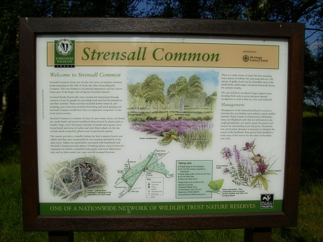 Yorkshire Wildlife Trust information board on Strensall Common