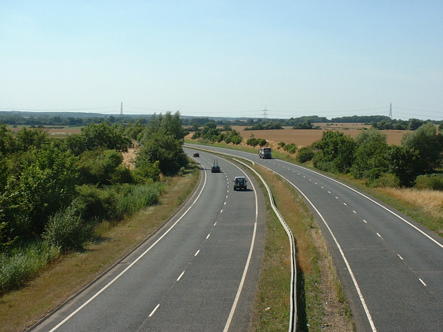 A47 at Ailsworth, Peterborough, looking west