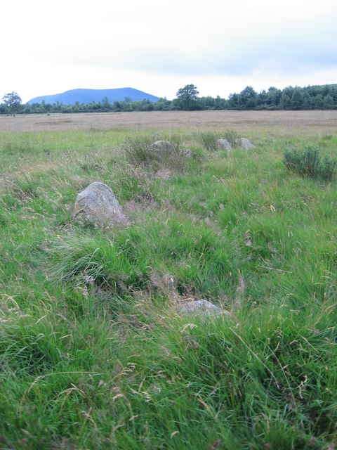 Hoarstones stone circle with Corndon Hill in the background
