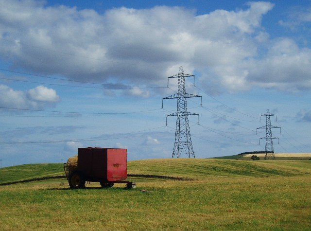 Red trailer with pylons