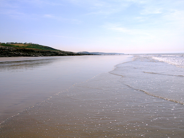 Looking along Ogmore Beach towards  SE