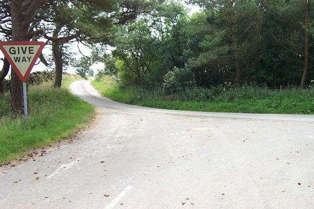 Road Junction at Coed yr Ysgol near Trofarth