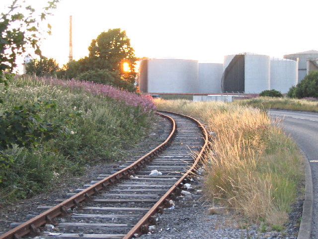 Freight line and oil storage tanks, Eastham