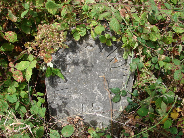 Close-up of Milestone beside the A487