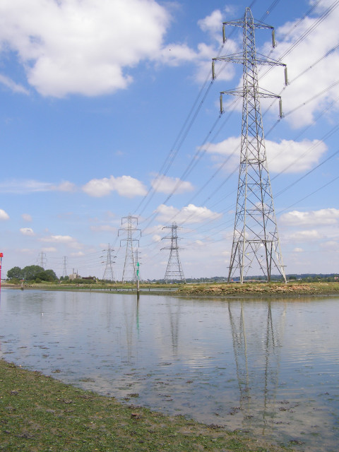 Power lines across the Eling Channel