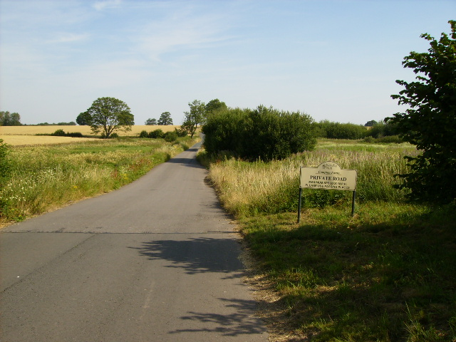 Private metalled road to Red House Farm