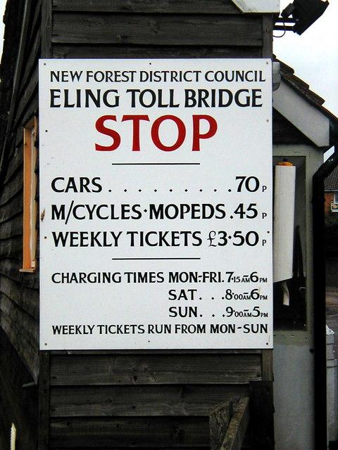 Eling Toll Bridge Fees  in 2002