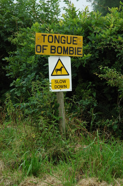 Sign for the delightfully named tongue of Bombie
