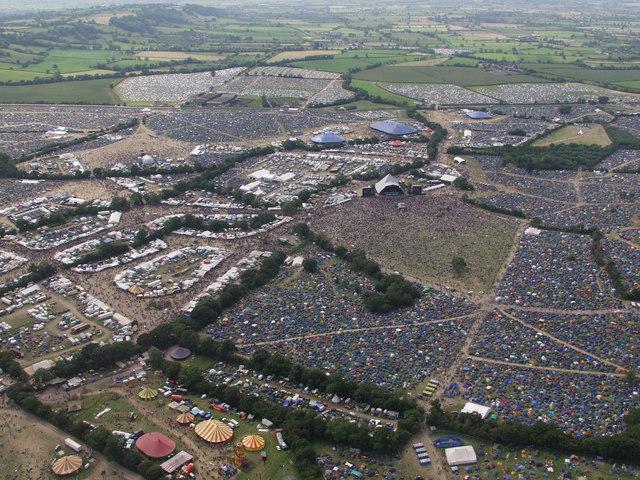 Overhead Glastonbury Festival site (2002)