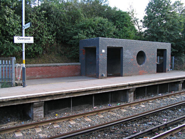 Overpool Railway Station (exterior view)