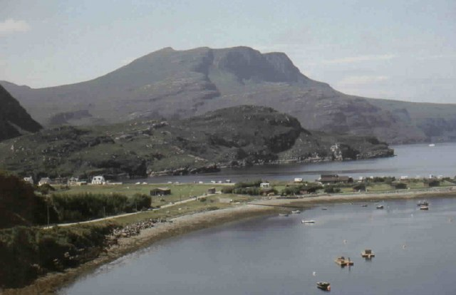 View of Ardmair with Beinn Ghobhlach in the Background