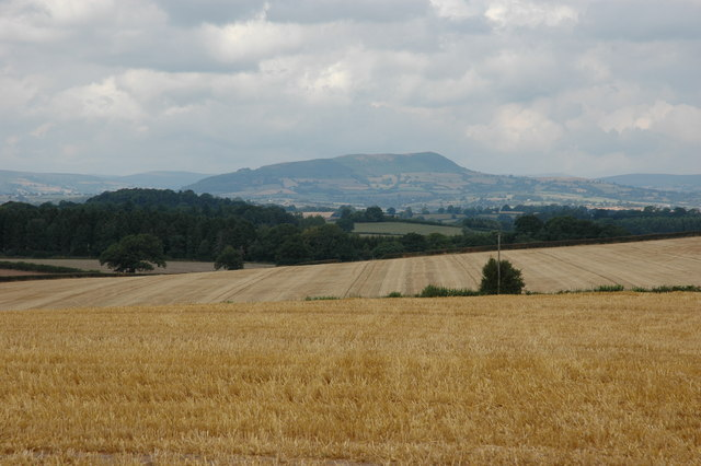 Stubble field with the Skyrrid in the distance