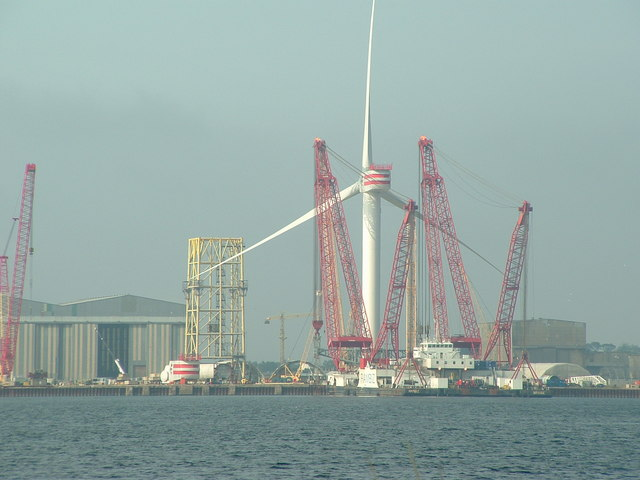 Giant wind turbine at Nigg yard