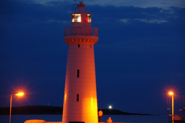 Donaghadee lighthouse at twilight
