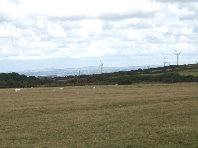 Rosenannon Downs, view to St Breock wind farm