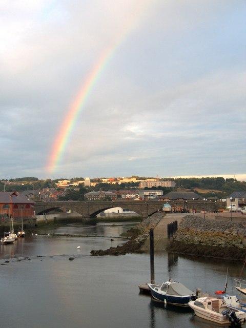 Rainbow over Trefechan Bridge, Aberystwyth