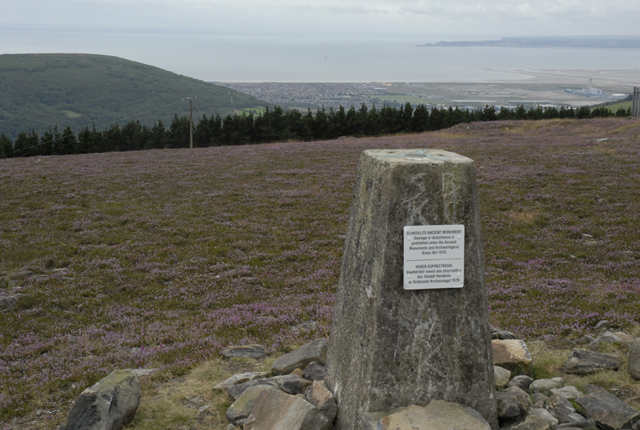 Triangulation Pillar on Foel Fynyddau with Mumbles Head in the background