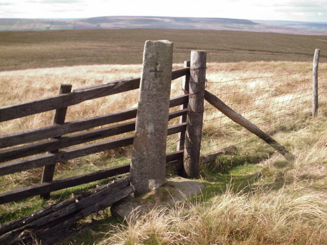 Boundary stone and gate at the summit of Little Haw (516m)