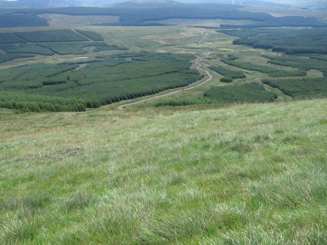 Looking down from Moorbrock Hill near Poltie Burn