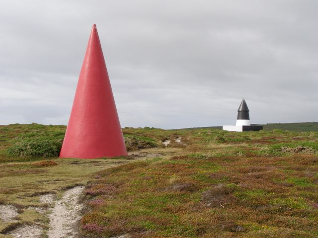 Navigation markers on Gwennap Head