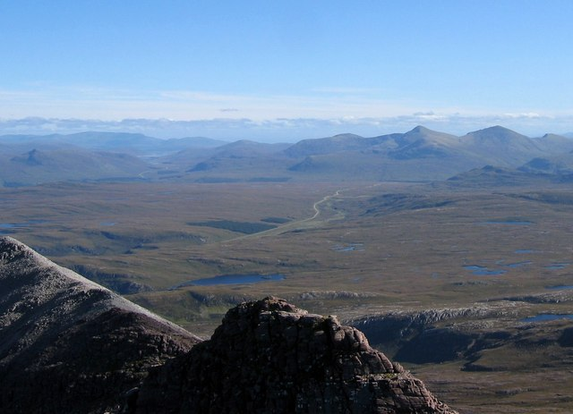 Destitution Road, taken from the summit of Bidein a' Ghlas Thuill (An Teallach). From Exploring Scotland's North Coast 500
