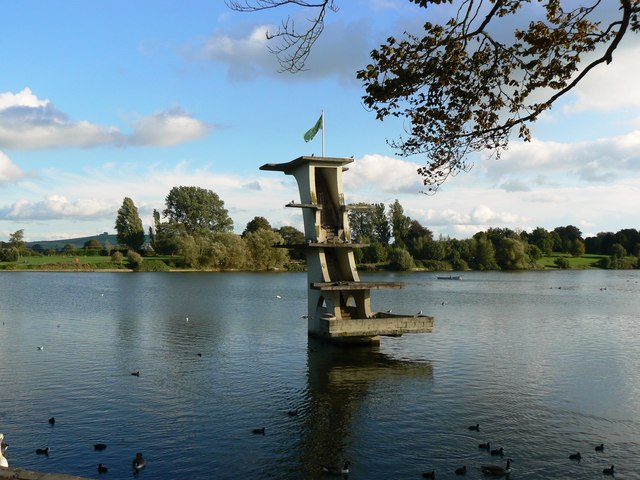 Art deco diving board, Coate Water, Swindon, Wiltshire