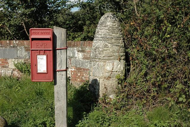Postbox and gatepost, Wainsford Road, Pennington