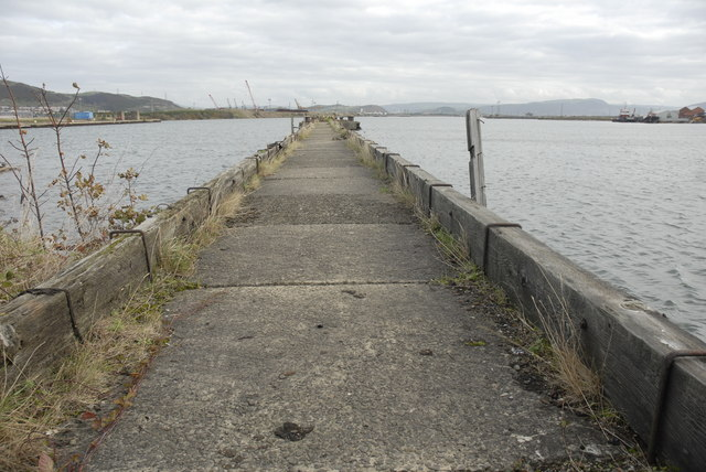 Disused jetty in The Queen's Dock, Swansea