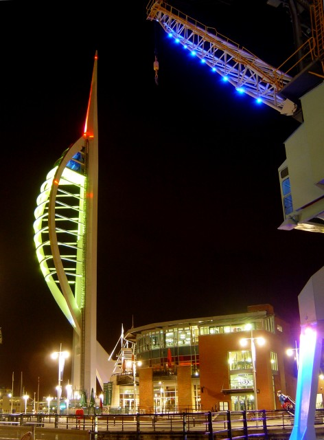 Spinnaker Tower and Gunwharf Quays at night