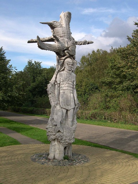 Statue on entrance road to Ferry Meadows Country Park