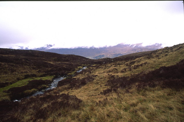Looking down Allt na Feithe Baine