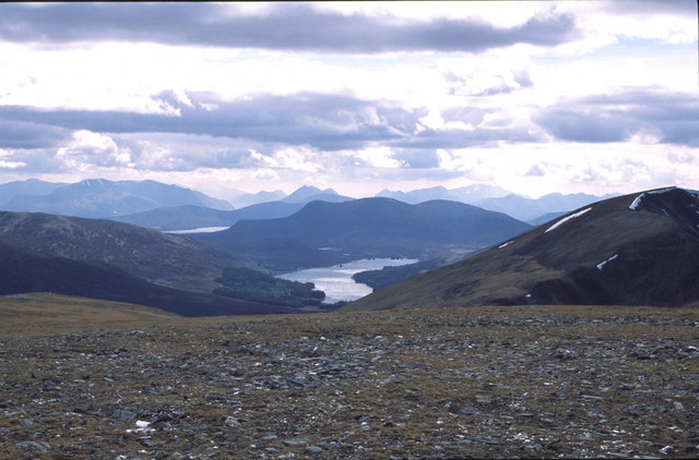 Geal Charn - view down to Loch Ossian