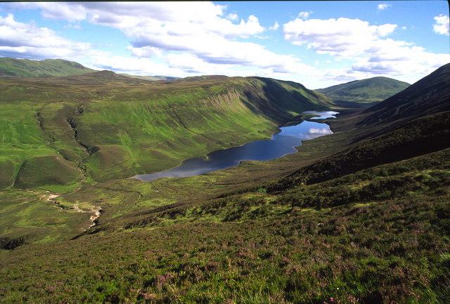 View of Loch Loch from below Meall Gharran
