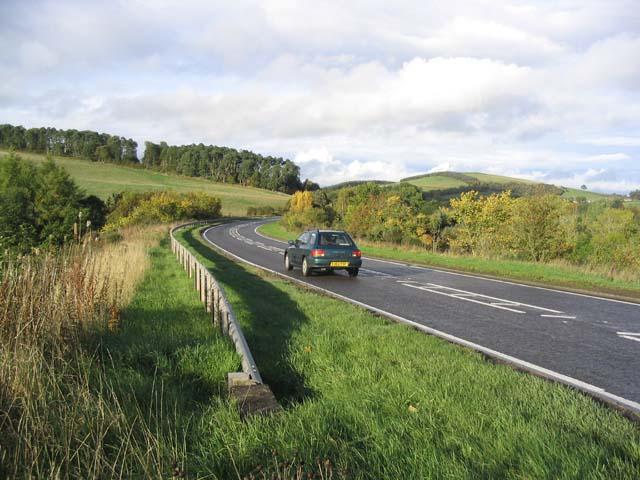 The A68 near Drygrange Mains