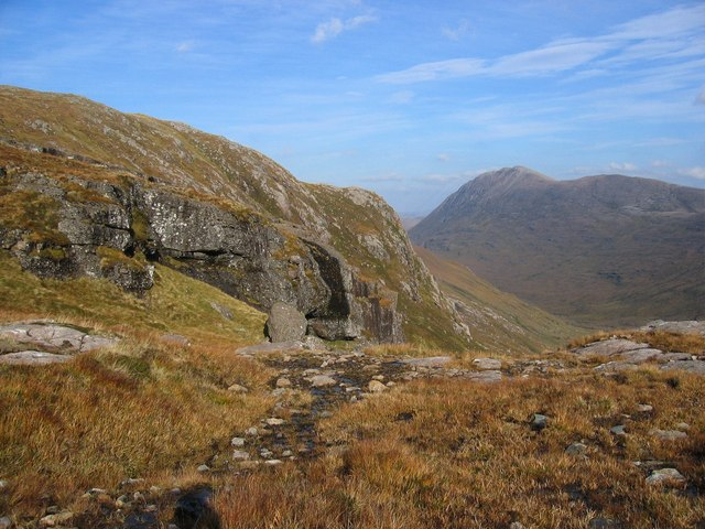 Bealach between A'Mhaighdean and Beinn Tarsuinn