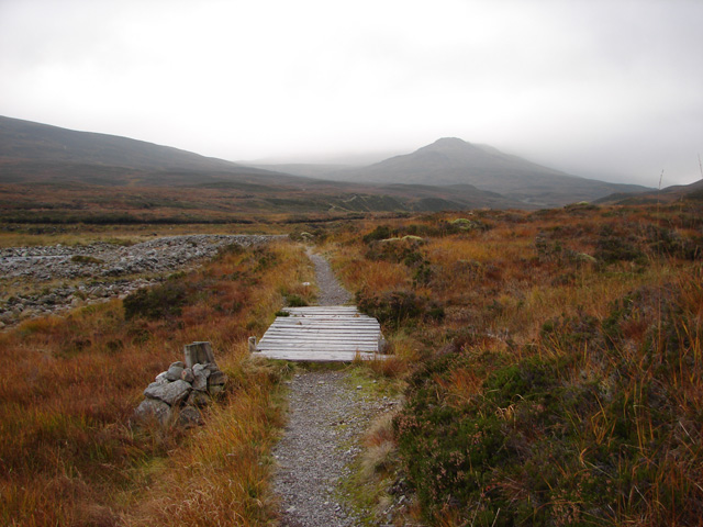 Footbridge on the path to Ben Alder