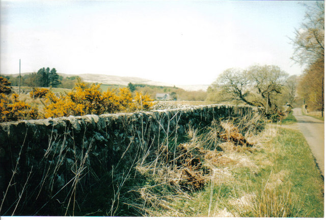 Dry stone wall next to unclassified road