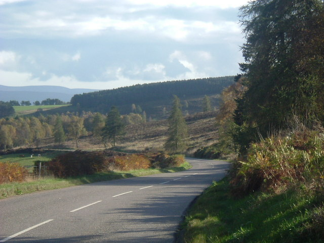 A974 winding down side of Glenshalg Hill.