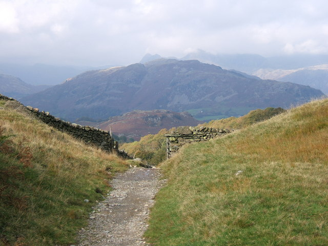 Looking over Lingmoor Fell to the Langdale Pikes