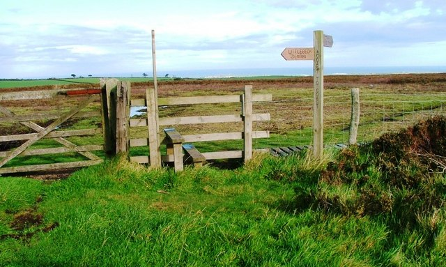 Public Footpath Sign and Stile onto Graystone Hills