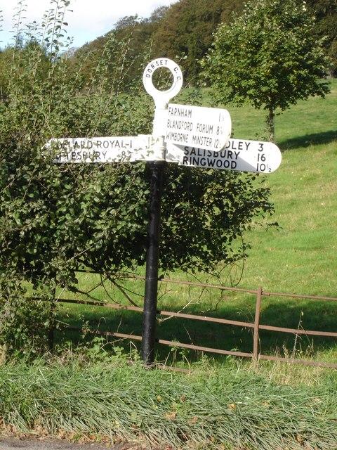 Signpost at Minchington Cross