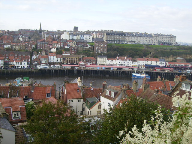 View of Whitby town and harbour